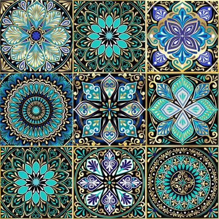 正方形からカラフルな花のシームレスなパターン。