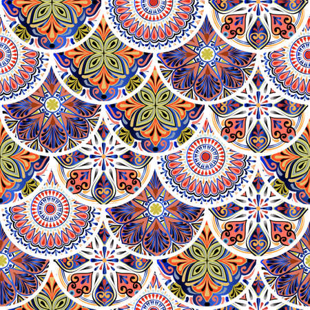 Colorful floral seamless pattern from circles with mandala in patchwork boho chic style, in portuguese and moroccan motif