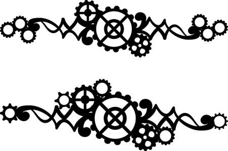 A set of two borders with gears. Black illustration on a white background.