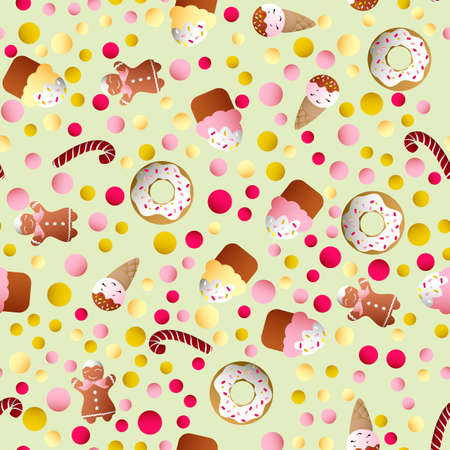 Seamless pattern with ice lolly, cookies, donuts with cream, cupcakes, bonbon and sprinkles with smile faces and colorful round candy on a light monochromatic background Illustration