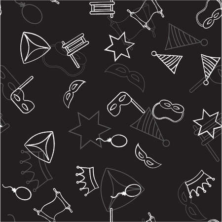 Seamless pattern with objects for the Jewish holiday Purim ball mask carnival, Patty, ratchet, Jewish star, a scroll, a crown and a fancy hat.