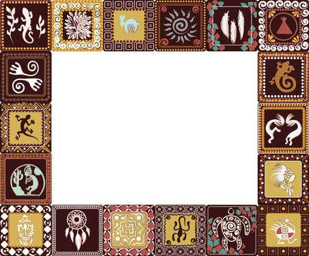 Marco con patrón de cuadrados con imitación de elementos de arte rupestre de antiguos indios, aztecas, hombres de las cavernas Ilustración vectorial.