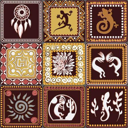 Patrón sin fisuras con el patrón de cuadrados con imitación de elementos de arte rupestre de antiguos indios, aztecas, cavernícolas Ilustración de vector