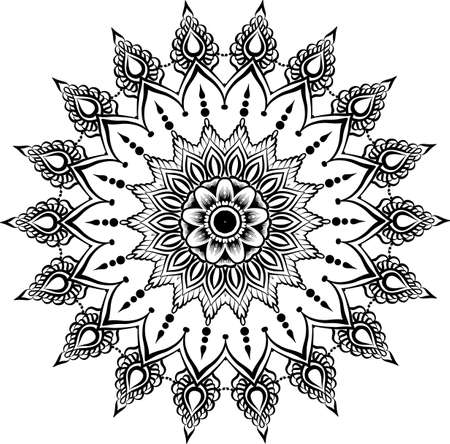 abstract vector with floral round lace mandala, decorative element in ethnic tribal style, black line art on a white background Illustration