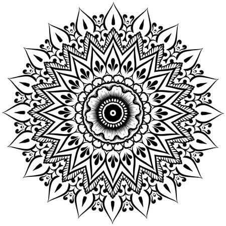 abstract vector with floral round lace mandala, decorative element in ethnic tribal style, black line art on a white background Banco de Imagens