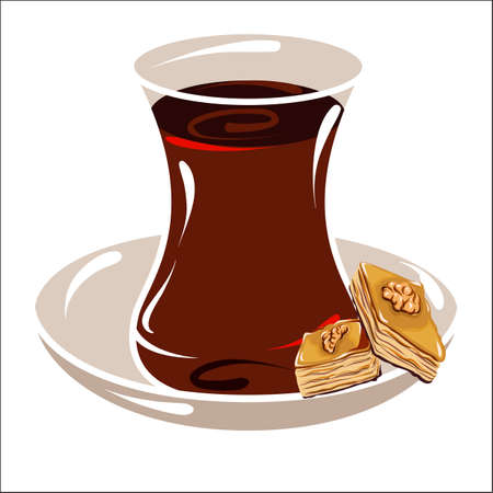 Vector drawing of turkish cup of tea and turkish baklava on a saucer