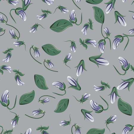 vector seamless pattern with violet leaves and violaceous flowers