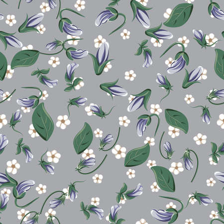 vector seamless pattern with violet leaves, violaceous flowers and small white simple flowers on a gray background