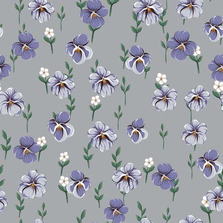 Vector seamless pattern con foglie di violetta, fiori violacei e piccoli fiori semplici bianchi su sfondo grigio