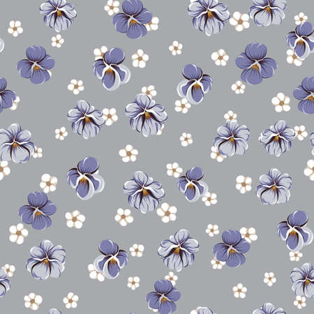 vector seamless pattern with violet leaves, violaceous flowers and small white simple flowers on a gray background Vettoriali