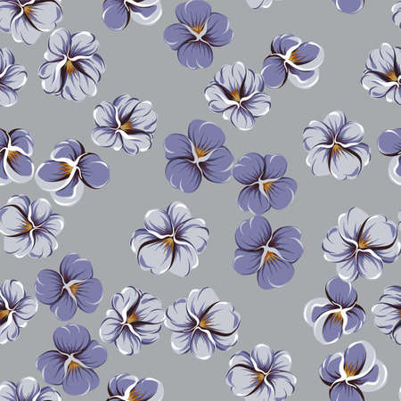 vector seamless pattern with violaceous flowers