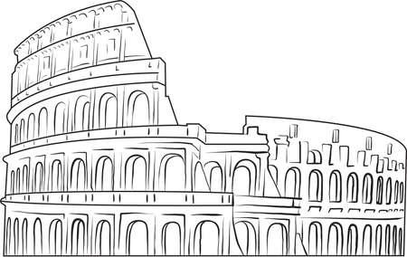 Kolosseum, handgezeichnete Vektorfarbe im Strichgrafikstil - schwarzer Umriss auf weißem Hintergrund