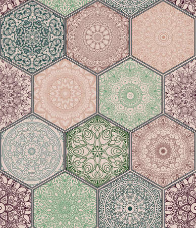Oriental seamless pattern in style of colorful floral patchwork boho chic with mandala in hexagon elements Illustration