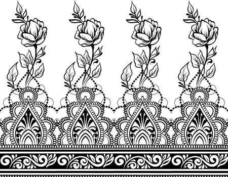 Art de la ligne indienne ethnique frontière transparente avec des fleurs dans un style ethnique mehendi sur fond blanc