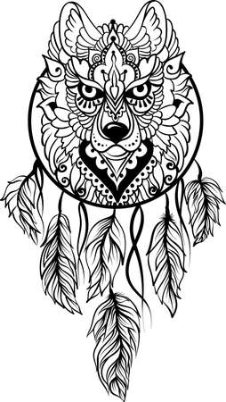 Drawing of a wolf in ethnic tribal stile with dreamcatcher, feathers, black line art on white background