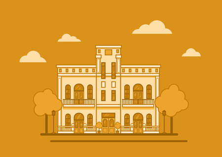 a classic style house with columns vector