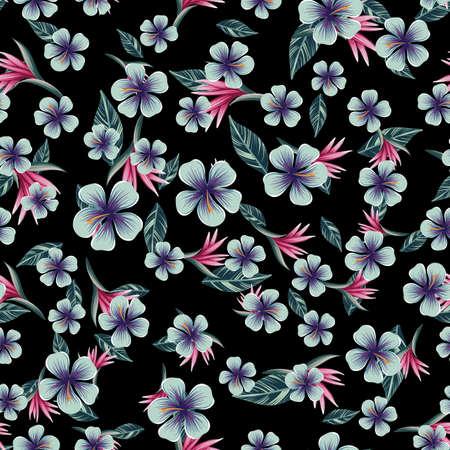 Modello colorato senza cuciture con piante e fiori tropicali su sfondo nero Vettoriali
