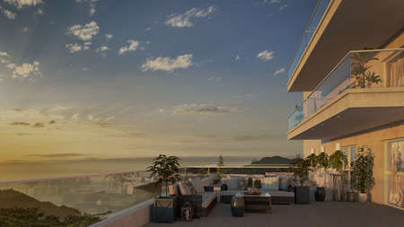3d render of sunset sea view from the balcony