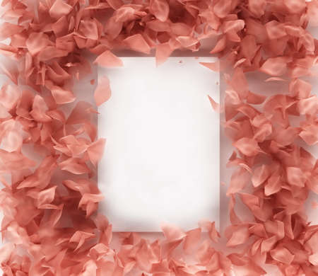Rose petals frame on a white background, 3d rendering Stock Photo