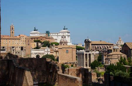 view of Altare della Patria in Rome Stok Fotoğraf