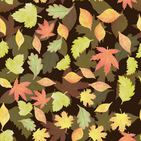 a seamless pattern with watercolor autumn leaves Stok Fotoğraf - 132290243