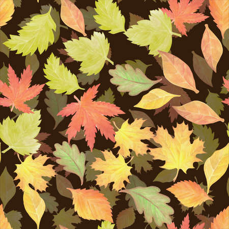 a seamless pattern with watercolor autumn leaves Stok Fotoğraf - 132290266