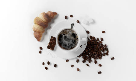 cup of coffee with coffee beans, 3d render