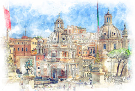 Trajan's Column and Santa Maria di Loreto, view from Altar of the Fatherland, Rome, Italy
