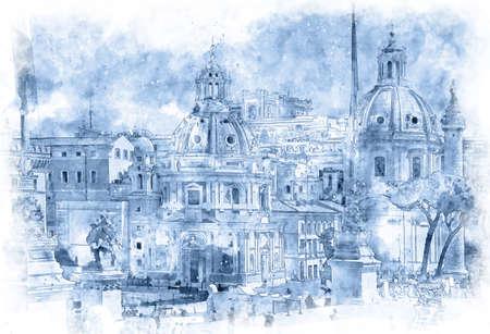 Trajans Column and Santa Maria di Loreto, view from Altar of the Fatherland, Rome, Italy
