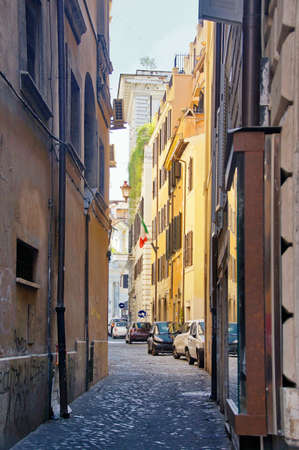 photo of narrow alleys of the old city in the center of Rome