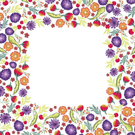 floral square frame with different wild hand drawn flowers