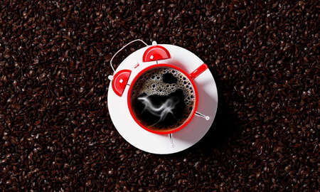 cup of coffee in the shape of an alarm clock, 3d render