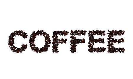 The word coffee spelled in coffee beans, 3d render