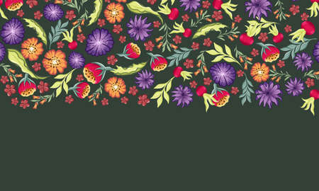 floral border with different wild hand drawn flowers