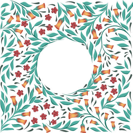 round floral frame wreath with different flowers