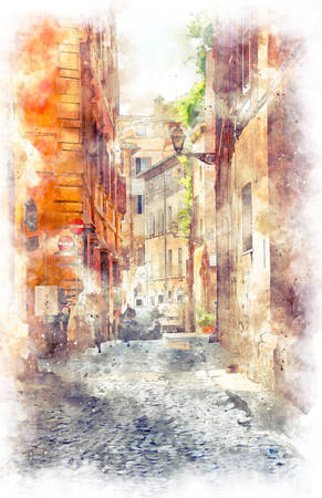 Digital illustration in watercolor style of narrow alleys of the old city in the center of Rome Stok Fotoğraf