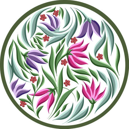 vector drawings of round element with leaves and cute flowers, floral frame Çizim