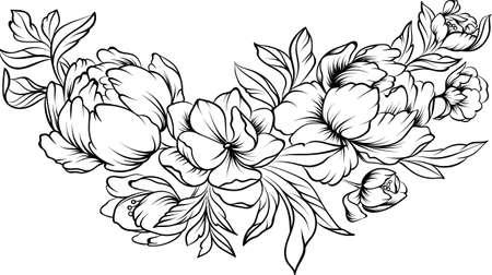 Borde de arte de línea floral sobre un fondo blanco, página para colorear
