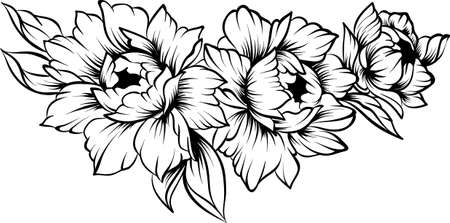 Floral line art border on a white background, coloring page Stok Fotoğraf