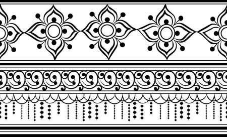 Ethnic indian handdrawn vector line art border