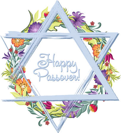Greeting card with floral frame, Happy Passover jewish lettering and Star of David, hand drawing vector illustration