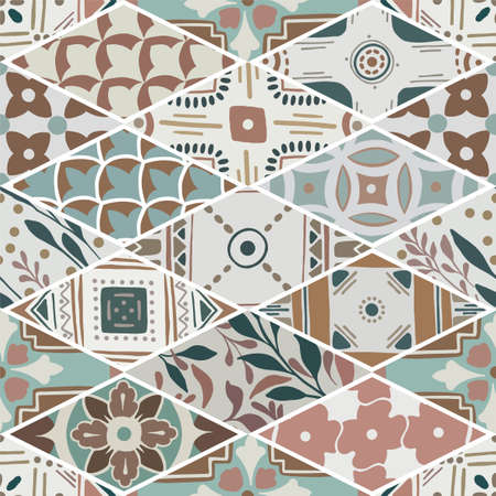 Colorful floral seamless hand drawn ornamental east pattern in patchwork boho chic style from rhomb, in portuguese and moroccan motif Ilustração