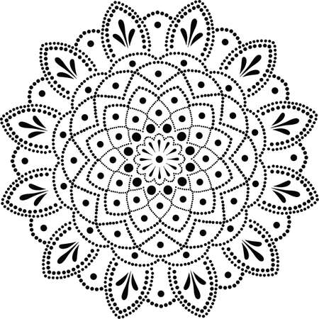 vector drawing of floral round lace mandala