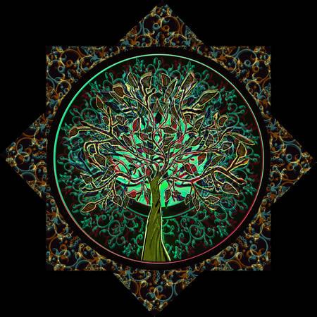 estrella de la vida: Árbol de la Vida en el marco adornado de estrellas