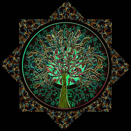 mandala: Tree of Life in Ornate Star Frame Stock Photo