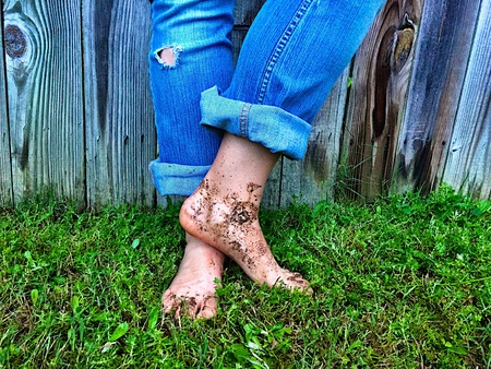 yard work: Yard work with muddy feet