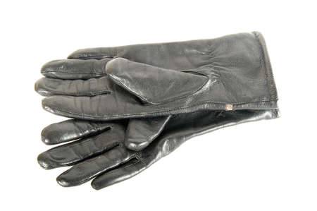 warm things: Black leather gloves are on each other Stock Photo