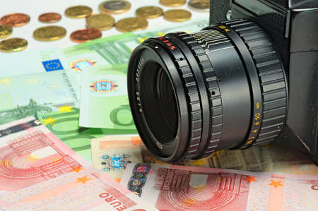 stock photo: 100 background business cent coin coins color euro euros fifty finance hundred income market money profit success ten white