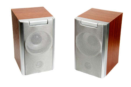 Two Wooden music loudspeakers isolated on white photo