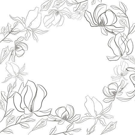 Round frame of blooming magnolia flowers in monochrome colors. Vector handdrawn illustration for invitations and postcards. Isolated on white Reklamní fotografie